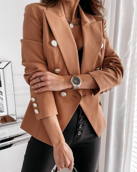 Solid Double Breasted Lapel Neck Blazer gallery 3