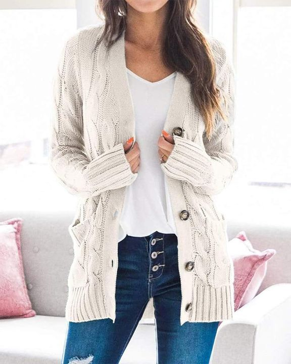 Cable Knit Patch Pocket Button Open Front Cardigan gallery 1