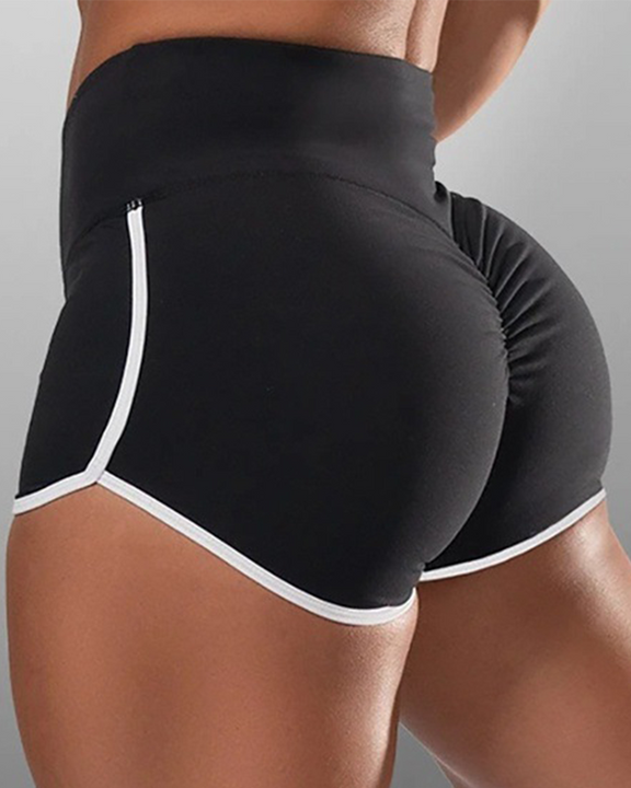 Contrast Binding High Waist Ruched Shorts gallery 1