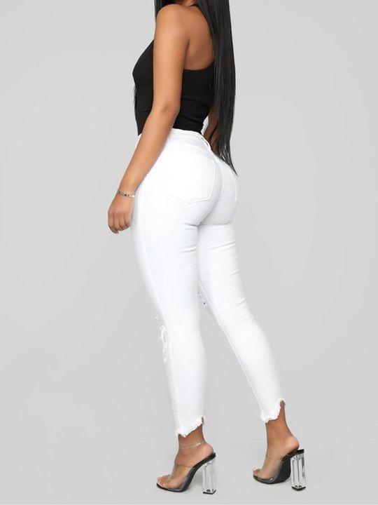 Solid Knee Distressed Raw Hem Jeans gallery 7