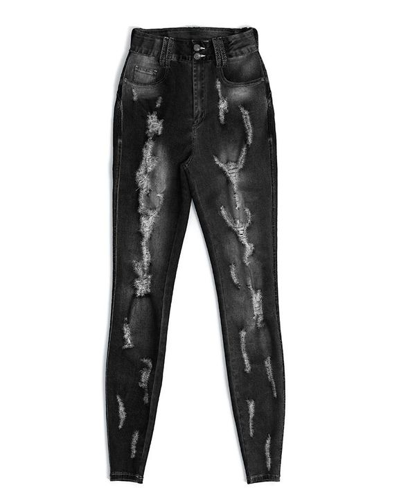 Extreme Distressed High Waist Skinny Jeans gallery 24