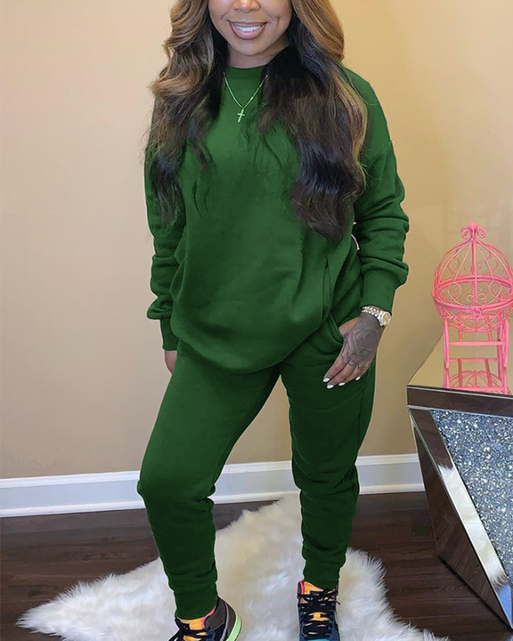 Solid 4 Pockets Long Sleeve Top & Pants Set gallery 5
