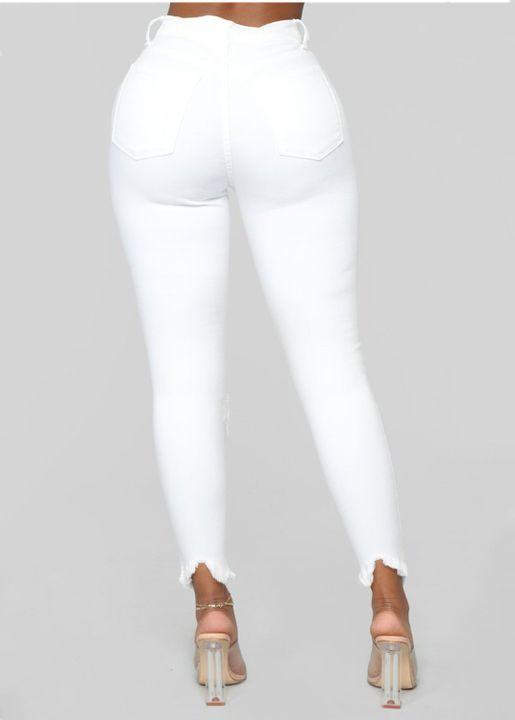 Solid Knee Distressed Raw Hem Jeans gallery 6