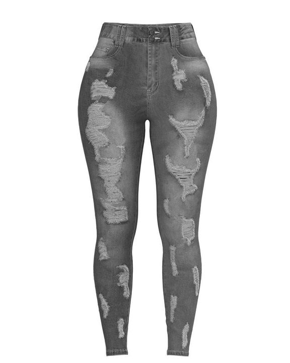 Extreme Distressed High Waist Skinny Jeans gallery 27