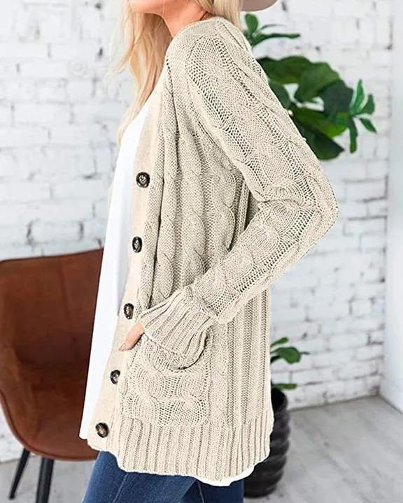 Cable Knit Patch Pocket Button Open Front Cardigan gallery 2