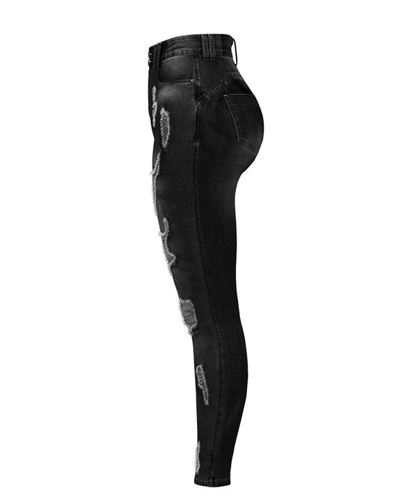 Extreme Distressed High Waist Skinny Jeans gallery 22
