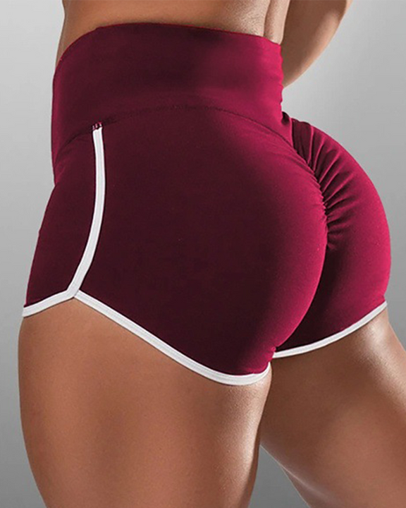 Contrast Binding High Waist Ruched Shorts gallery 5
