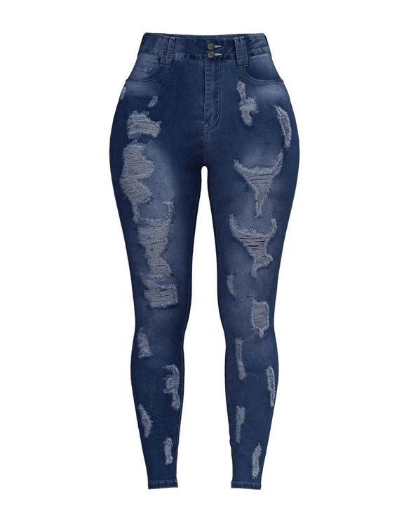 Extreme Distressed High Waist Skinny Jeans gallery 15