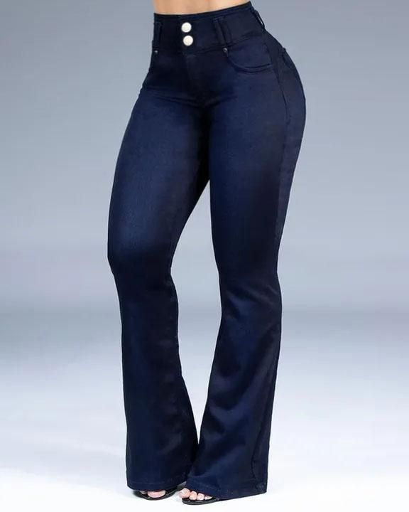 Button Front Butt Lifting Flare Jeans gallery 2