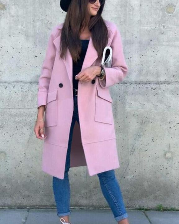 Solid Button Front Pocket Detail Lapel Neck Coat gallery 3