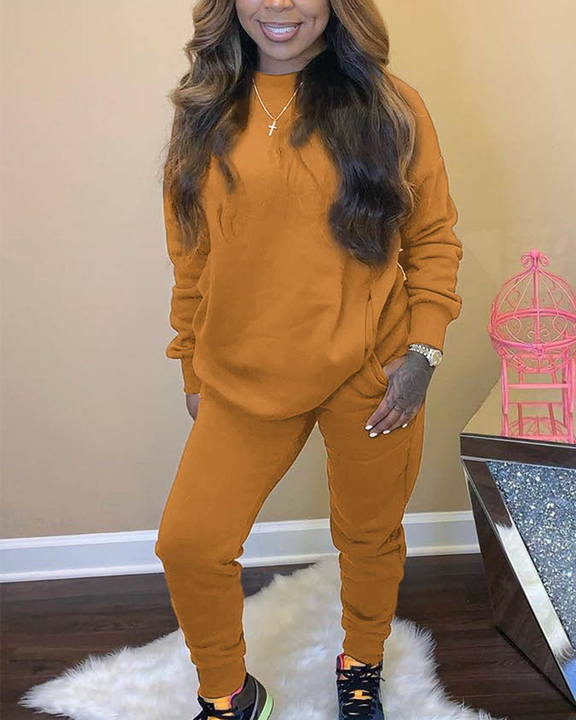Solid 4 Pockets Long Sleeve Top & Pants Set gallery 7