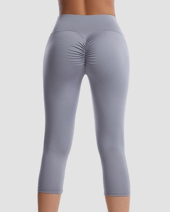 Wide Waistband Scrunch Butt Capris Sports Leggings gallery 7