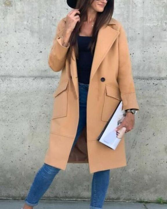 Solid Button Front Pocket Detail Lapel Neck Coat gallery 1