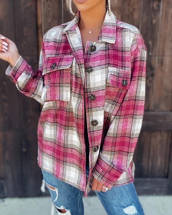 Plaid Flap Pocket Button Up Overshirt gallery 2