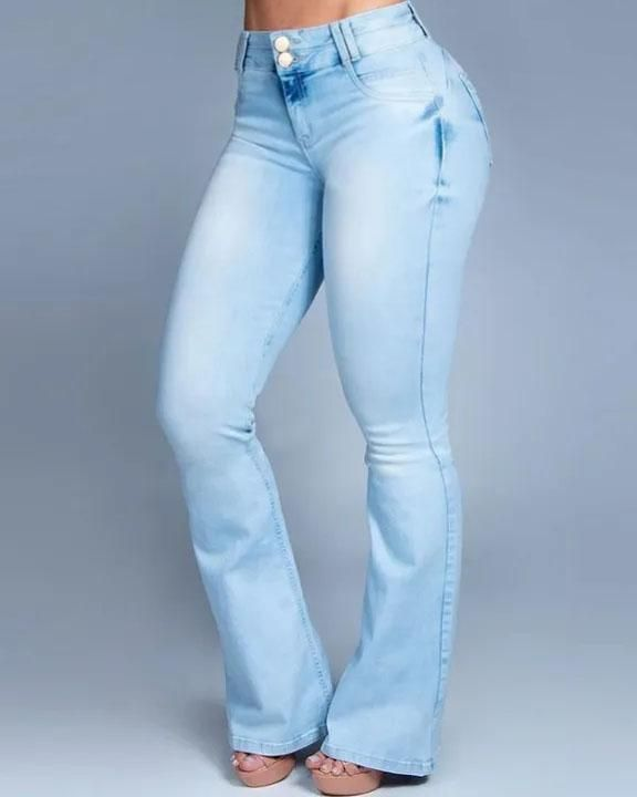 Button Front Butt Lifting Flare Jeans gallery 1