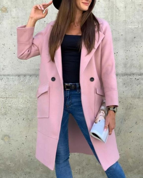 Solid Button Front Pocket Detail Lapel Neck Coat gallery 7