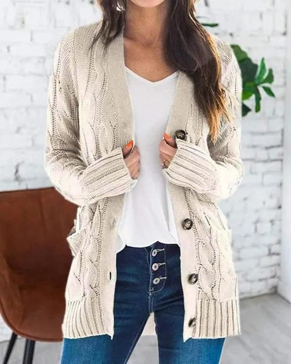 Cable Knit Patch Pocket Button Open Front Cardigan gallery 4