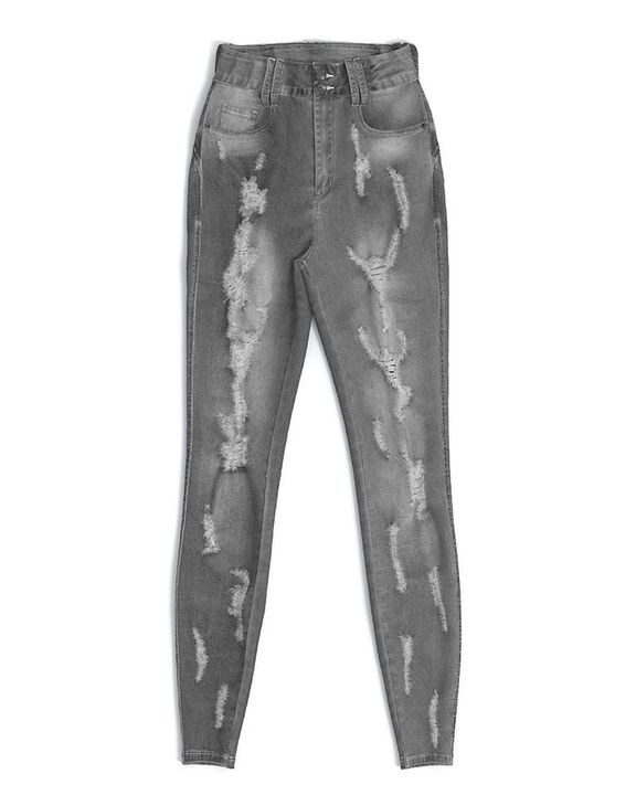 Extreme Distressed High Waist Skinny Jeans gallery 30