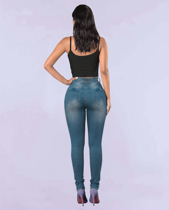 Extreme Distressed High Waist Skinny Jeans gallery 14