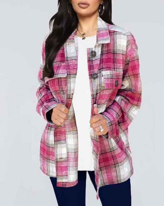 Plaid Flap Pocket Button Up Overshirt gallery 4