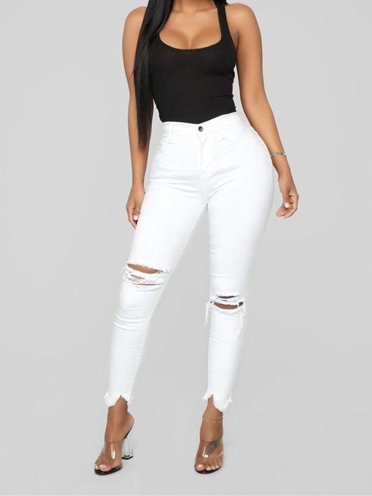 Solid Knee Distressed Raw Hem Jeans gallery 5