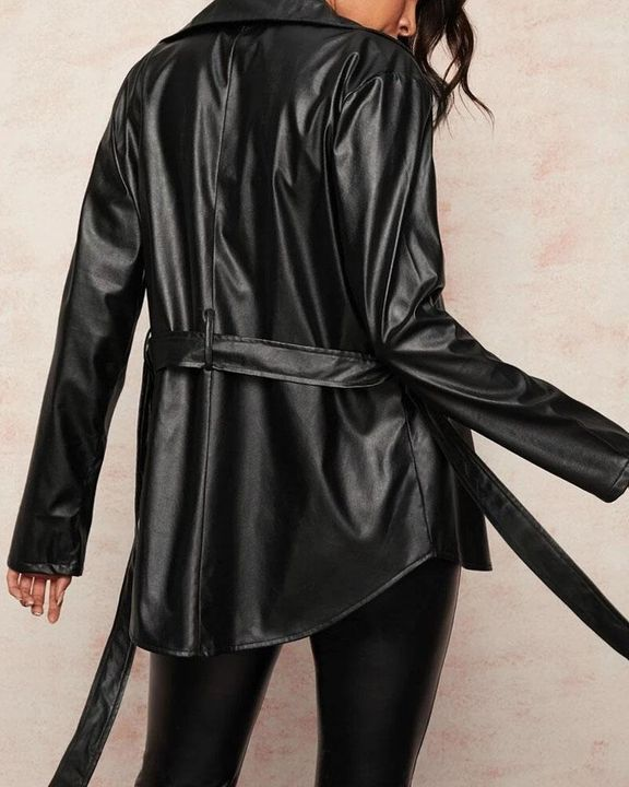 PU Leather Flap Pocket Belted Zip Front Jacket gallery 2