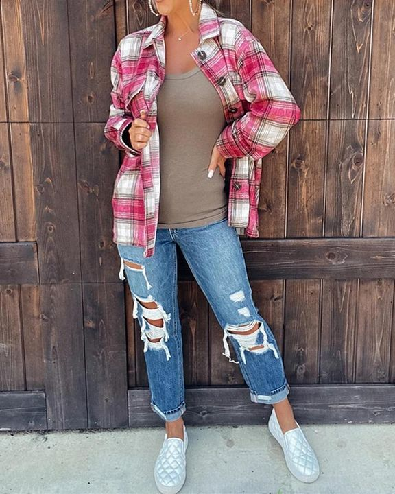 Plaid Flap Pocket Button Up Overshirt gallery 3