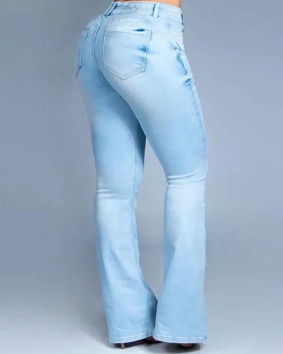 Button Front Butt Lifting Flare Jeans gallery 4