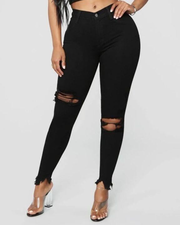 Solid Knee Distressed Raw Hem Jeans gallery 2