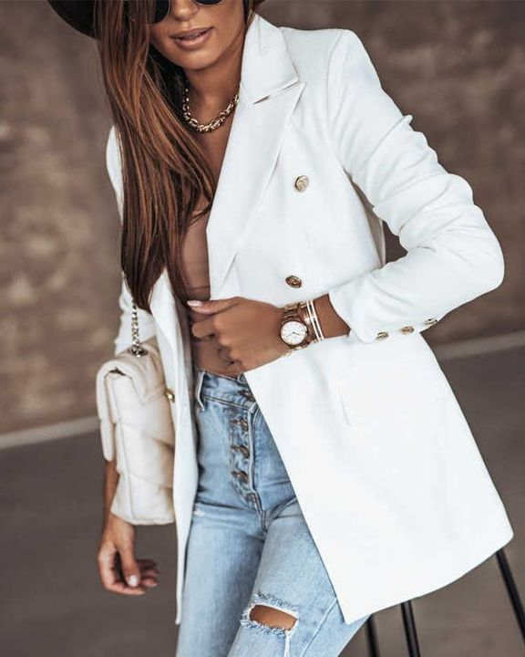 Solid Double Breasted Lapel Neck Blazer gallery 1