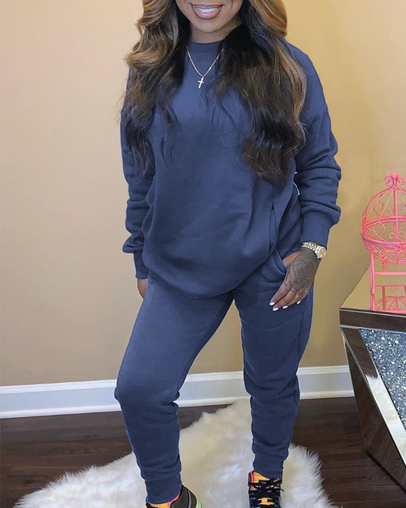 Solid 4 Pockets Long Sleeve Top & Pants Set gallery 3