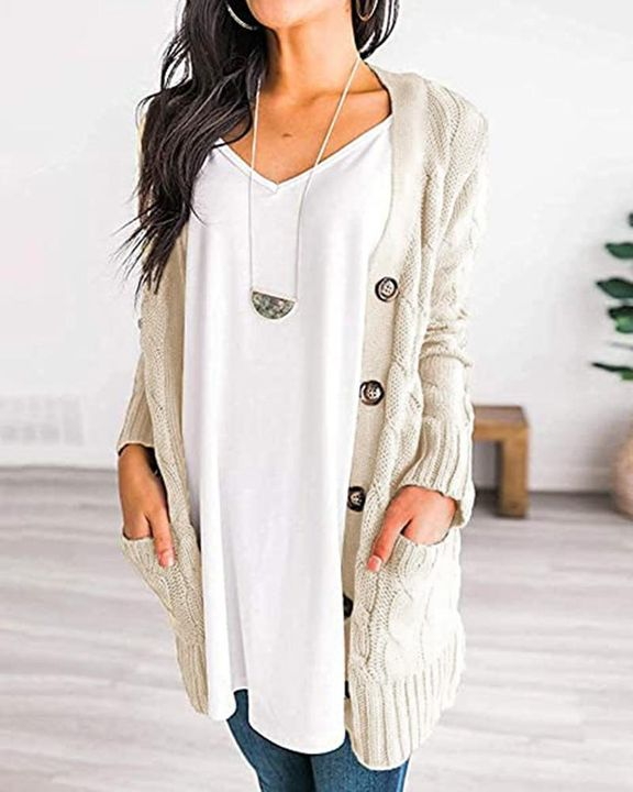 Cable Knit Patch Pocket Button Open Front Cardigan gallery 5