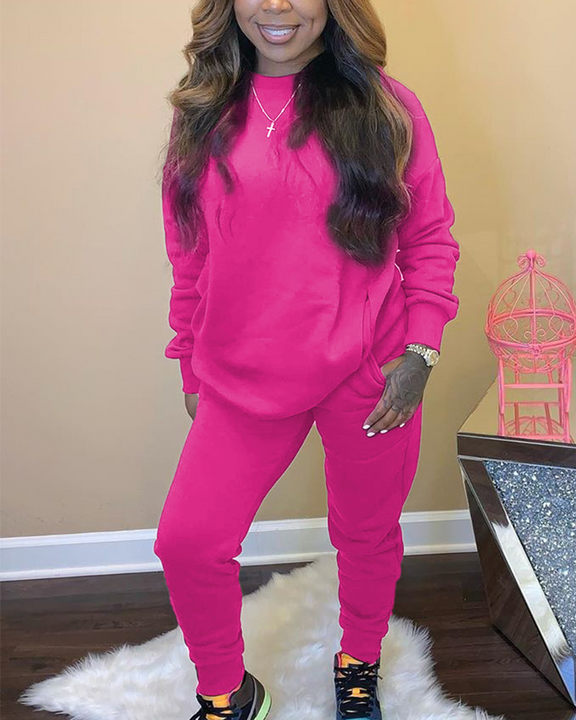 Solid 4 Pockets Long Sleeve Top & Pants Set gallery 6