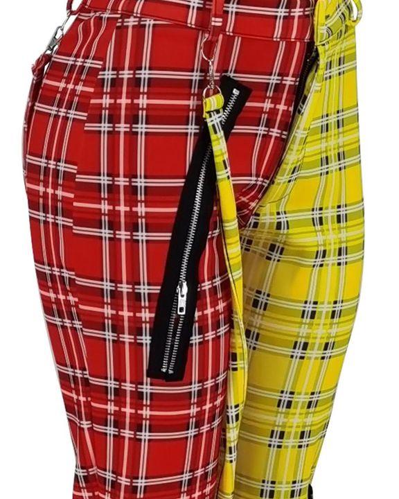 Tartan Pattern Zipper Detail Knee Belted Pants gallery 6
