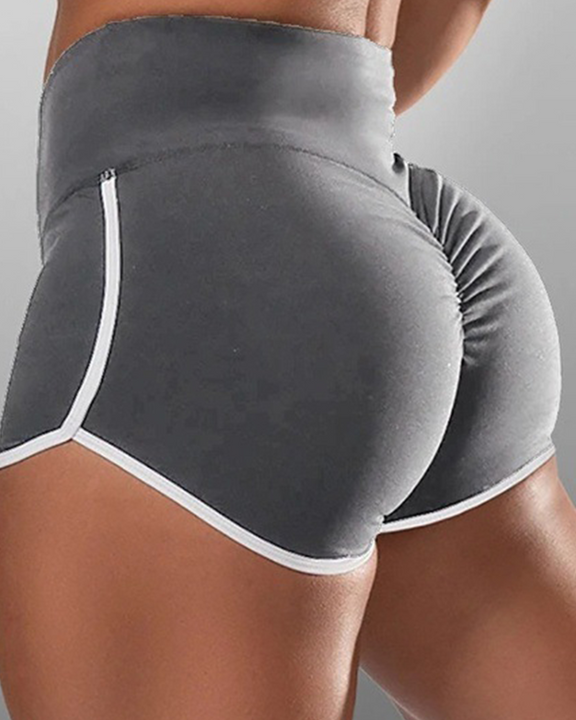 Contrast Binding High Waist Ruched Shorts gallery 2