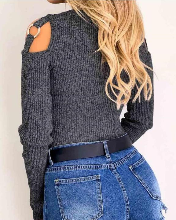Ribbed Knit Cold Shoulder Form Fitting Sweater gallery 3