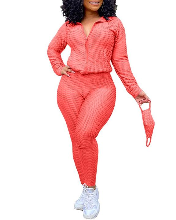 Solid Textured Dual Pocket Sports Jacket & Ruched Leggings Set With Mask gallery 11