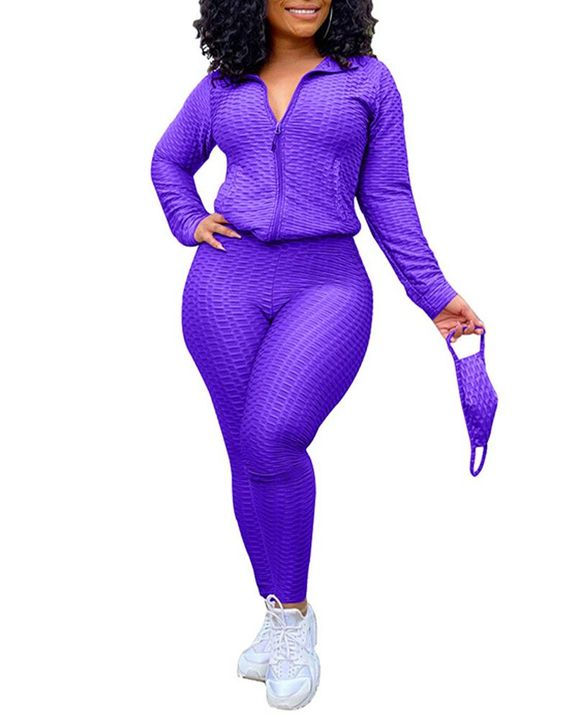 Solid Textured Dual Pocket Sports Jacket & Ruched Leggings Set With Mask gallery 9