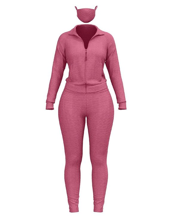 Solid Textured Dual Pocket Sports Jacket & Ruched Leggings Set With Mask gallery 16