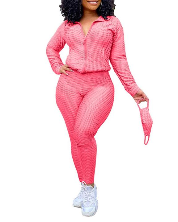 Solid Textured Dual Pocket Sports Jacket & Ruched Leggings Set With Mask gallery 13