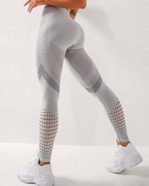 High Waist Hollow Out Butt Lifting Stretch Sports Leggings gallery 1