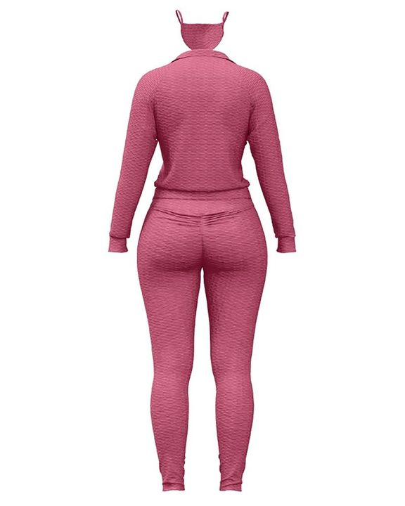 Solid Textured Dual Pocket Sports Jacket & Ruched Leggings Set With Mask gallery 17