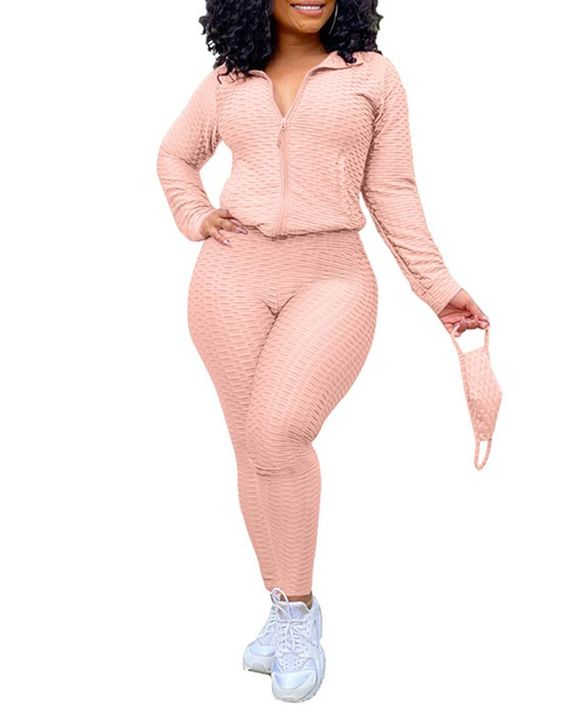 Solid Textured Dual Pocket Sports Jacket & Ruched Leggings Set With Mask gallery 23