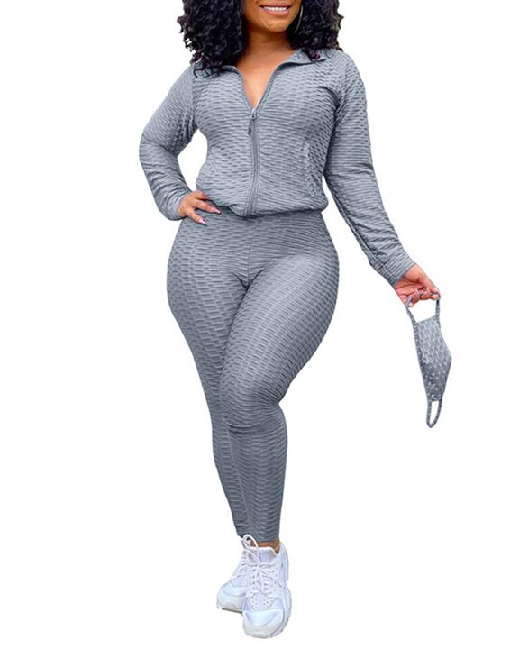 Solid Textured Dual Pocket Sports Jacket & Ruched Leggings Set With Mask gallery 7