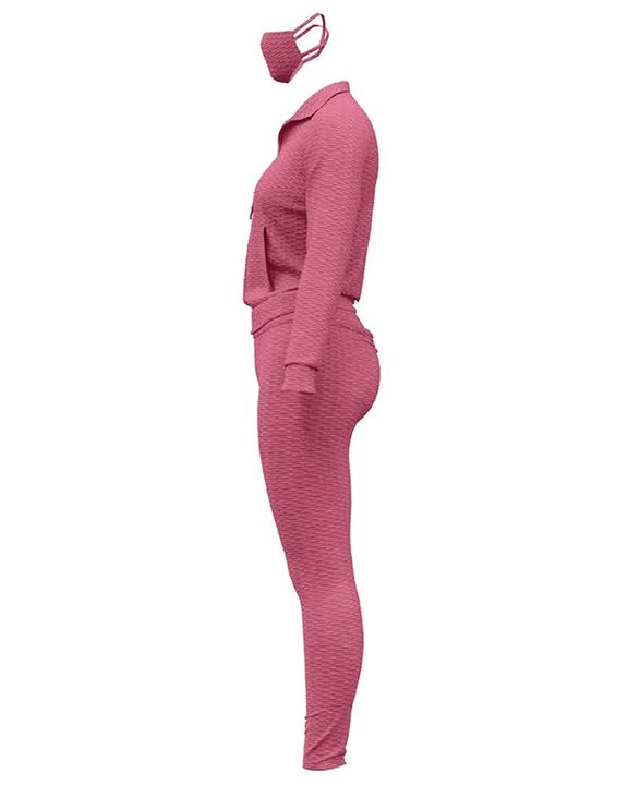 Solid Textured Dual Pocket Sports Jacket & Ruched Leggings Set With Mask gallery 18