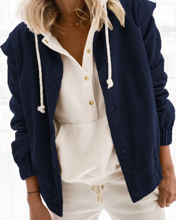 Solid Shoulder Padded Button Up Stand Collar Cord Coat gallery 7