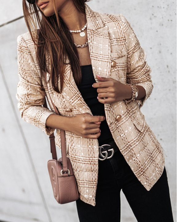 Plaid Print Double Breasted Lapel Neck Blazer gallery 1
