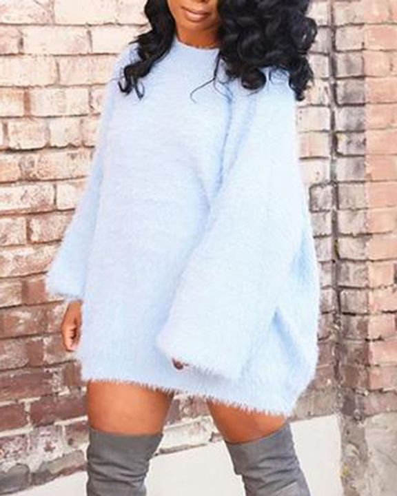 Solid Fuzzy Round Neck Mini Sweater Dress gallery 7