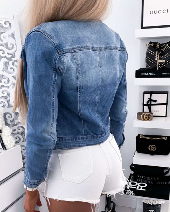 Zip Front Flap Pocket Denim Jacket gallery 3