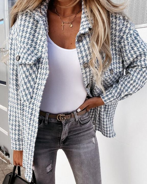 Houndstooth Pattern Button Up Flat Pocket Jacket gallery 2